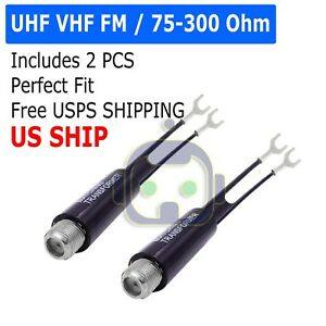 UHF VHF FM 75-300 Ohm TV Antenna Matching Transformer Coaxial Cable Adapter