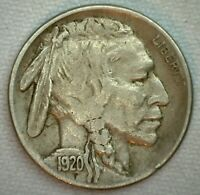 1920 S US Buffalo 5c Fine Cent Coin Copper Nickel Extra Fine