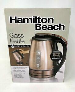 Hamilton Beach Electric Glass Kettle 1.7L Copper Finish  40866 New Cordless