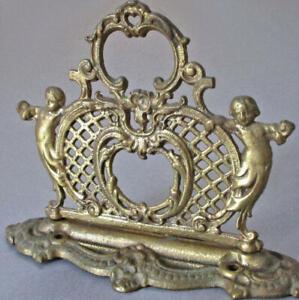 "Vintage 6"" Gilt Cast Brass Book End Ornament CHERUBS Lattice SCROLLS Medallions"