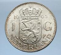 1965 Netherlands Kingdom Queen JULIANA 1 Gulden Authentic Silver Coin i69483