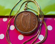 "1965 IRELAND LARGE PENNY BEZEL Pendant on a 24"" Gold Filled Snake Chain"