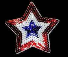 "SEQUIN STAR RED WHITE AND BLUE APPLIQUE PATCH  h3.375"" x w3.375"" (RBW-55)"