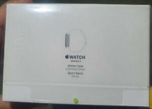 New SEALED Apple Watch Series 2 42mm Stainless Steel Silver White Sports Band S2