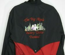 e0041b54 Vintage Big Apple Country Dance Festival Jacket Western Bomber Black Red M