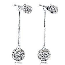 Solid 925 Sterling Silver Zircon Ball Bead Dangle Stud Earrings Jewellery