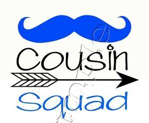 Iron on Transfer COUSIN SQUAD blue moustache FAMILY ARROW BOHO 15X12cm