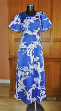 Vtg 70s HAWAII Tropical Print Boho Hippie Island Resort Flared Maxi DRESS A75
