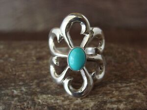 Navajo Indian Cast Sterling Silver Turquoise Ring Size 8 Signed Pena