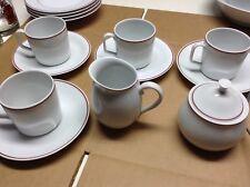 Rare!! Georges Goyer Limoges France Red Trim Cups Saucers Creamer & Sugar Bowl