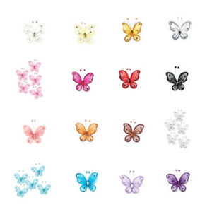 "60/120-PACK 2"" ORGANZA NYLON MESH BUTTERFLIES WITH WIRE GLITTER & RHINESTONES"