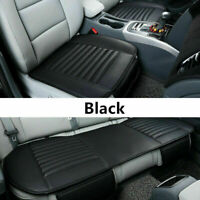 3pcs Universal PU Leather Breathable Car Front&Rear Seat Cover Cushion Pad Black