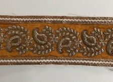 ATTRACTIVE INDIAN YELLOW  GOLD PAISLEY EMBROIDERY SILKY FABRIC TRIM/LACE-One MTR