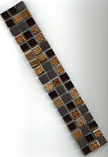 Mosaik Borde Bordüre aus Glas & Keramik Fliese gold braun Ornamente 4,9x30x0,8cm