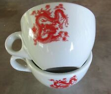 Set/2 Great China RED DRAGON restaurant coffee cups