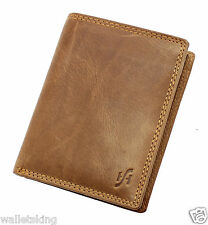 Mens Brown Distressed Hunter Real Leather Wallet With Removable ID Pocket #1090