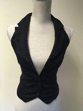 Button Cotton Blend Collared Regular Waistcoats for Women