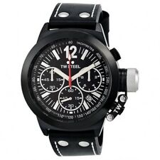 TW Steel CEO Canteen Black Dial Mens Watch Leather Strap Chronograph CE1033R
