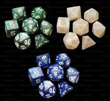 3 NEW Sets of 7 Polyhedral Dice - Green White Blue Marble  - 3 Dice Bags RPG