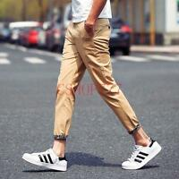 New Korea Mens Fashion Casual Cotton Ninth Pants Printed Slim Fit Khakis Summer