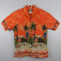 Ky's Aloha Hawaiian Camp Shirt Parrots Surfboard Beach Palm Orange Mens Sz L EUC