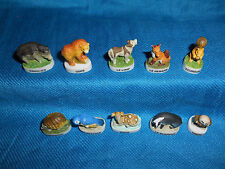 FOREST Wildlife Wild ANIMALS Set 10 Mini Figurines FRENCH Porcelain FEVES Matte