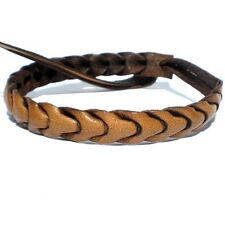 THIN HAND MADE BROWN REAL LEATHER FRIENDSHIP BRACELET WRISTBAND TIE ADJUSTABLE