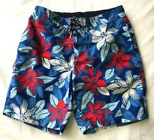 Lands' End Men's Swim Suit Trunks Board Shorts M 34 Hawaiian Print Blue Flowers