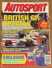 Autosport 9/7/92* FRENCH GP - BTCC CAVALIER v LOTUS CARLTON TEST -PIQUETS FUTURE