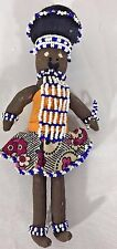 African Hand Made Beaded Doll Female Figure with baby