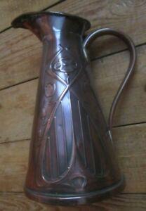 Vintage Arts & Crafts Copper Jug. Art Nouveau Style. J S & S 1 1/2 Pint.