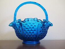 Fenton Art Glass, Colonial Blue Hobnail 8 inch Basket