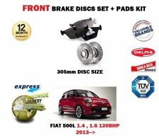 FOR FIAT 500L 1.4 1.6D 120BHP 2013->NEW FRONT BRAKE DISCS 305mm SET + PADS KIT