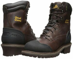 New Chippewa Mens 8 Inch Chocolate Oiled WP Ins Logger Boot Brown 8.5M 55050