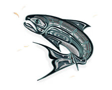 """CHINOOK SALMON & KRILL 14"""" signed, matted limited edition art print ~ MW James"""