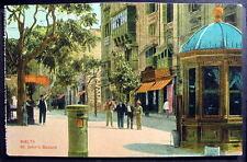 MALTA ST JOHN'S SQUARE  1900s Postcard hand colored