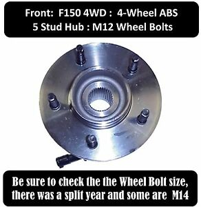 New Wheel Hub and Bearing Assembly with 1 Year Warranty ABS 5 Stud Front