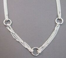"""Italian sterling silver chain and round circles necklace 16"""" with 2"""" extension"""