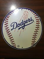 "LOS ANGELES LA DODGERS 12"" ROUND METAL BASEBALL SIGN MAN CAVE SPORTS ROOM SIGN"