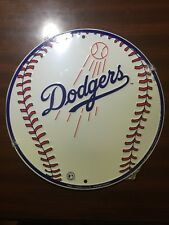 "LOS ANGELES LA DODGERS 12"" ROUND METAL BASEBALL SIGN MAN CAVE SPORTS ROOM SIGN"