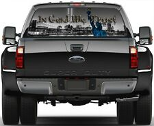 New York City 9/11 Liberty Statue B/W In God Rear Window Graphic Decal for Truck