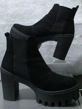 7d63b36d02a3 Schuh Black Faux Nubuck Chunky Platform Chelsea Boots UK 7- 8 Eur 41 VGC RRP