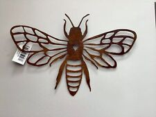 Bee Metal Rusty Garden Wall Fence Plaque 25 x 38cm