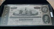 $20.00 Confederate Note 1864 Rare Cancel Crisp Unc