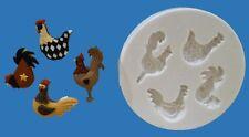 Gallinas, gallos, Pollitos Molde de silicona para tarta DECORACIÓN, chocolate,