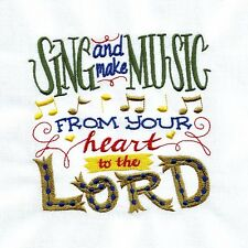 Machine Embroidered Quilt Block: SING AND MAKE MUSIC FROM YOUR HEART TO THE LORD