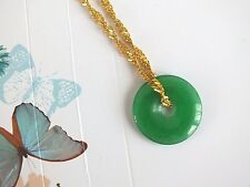 CHINESE GREEN JADE LUCKY FENG SHUI COIN WEALTH PENDANT NECKLACE MEN WOMEN PARTY