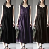 S-5XL ZANZEA Women Summer Sleeveless Long Maxi Dress Casual Kaftan Tank Sundress