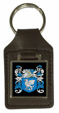 Deacon Heraldry Surname Coat Of Arms Brown Leather Keyring Engraved