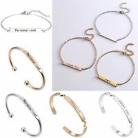 Women Stainless Steel DIY Personalized Custom Engraved Name Bangle Bracelet Gift